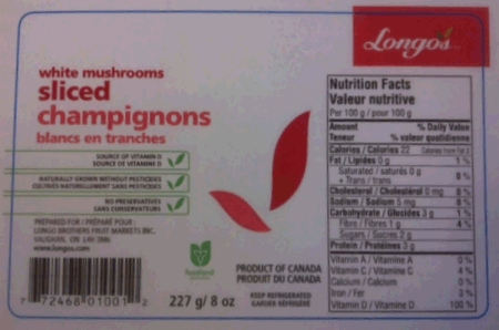 Longo's - White Mushrooms Sliced