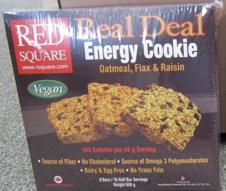 Red Square brand Real Deal Energy Cookie - Oatmeal, Flax & Raisin