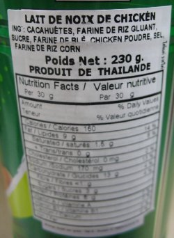 Nutrition facts table - Koh-Kae brand Peanuts Chicken Flavour Coated snack product