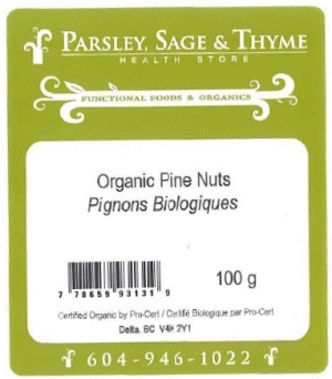 Parsley, Sage & Thyme Health Store - Organic Pine Nuts - 100 gram