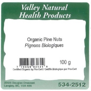 Valley Natural Health Products - Organic Pine Nuts - 100 gram