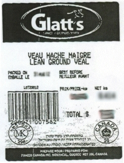 Glatt's lean ground veal - IGA#108