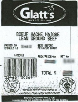 Glatt's lean ground beef - IGA #8111
