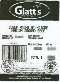 Glatt's medium ground beef - IGA #8111