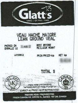 Glatt's lean ground veal - IGA #8522