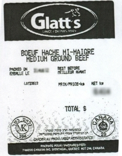 Glatt's medium ground beef - IGA #8522