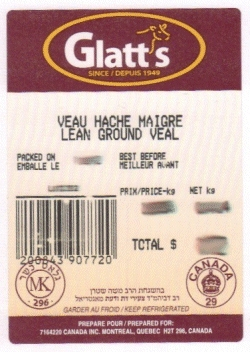 Glatt's lean ground veal