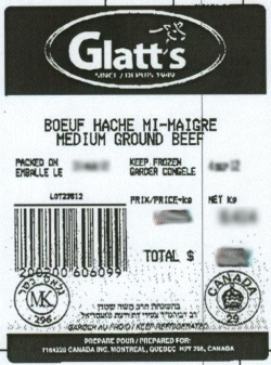 Glatt's medium ground beef - Kosher Quality Bakery