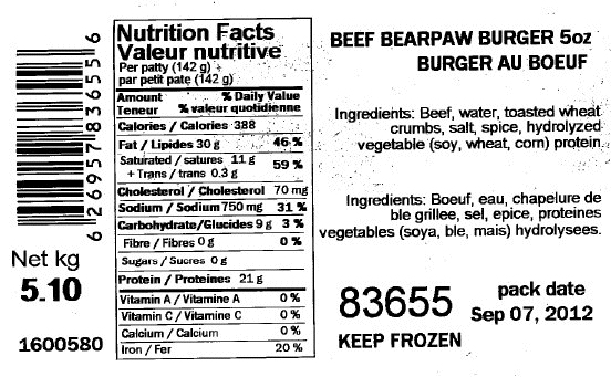 None-Beef Bearpaw Burger 5 ounce