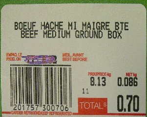 Sold from Metro-Beef Medium Ground Box