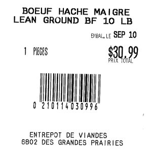 Sold from Entrepot de Viandes-Lean Ground BF - september 10
