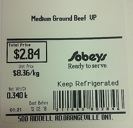 Sobeys-Medium Ground Beef VP