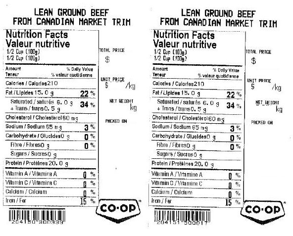 Co-op - Lean ground beef from Canadian market trim - codes divers
