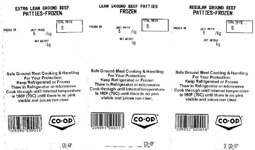 Co-op - Extra Lean, Lean, and Regular ground beef patties