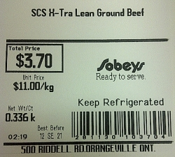Sobeys - SCS X-Tra Lean Ground Beef