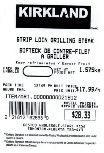 Strip Loin Grilling Steak