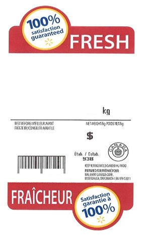 Sample Walmart label