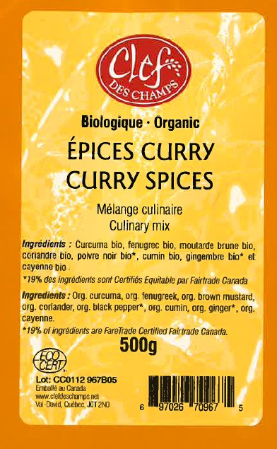 Organic Curry Spices Culinary Mix - Code CC0112 967B05