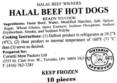 Halal Beef Hot Dogs, prepared for Corsetti Meat Packers Ltd.