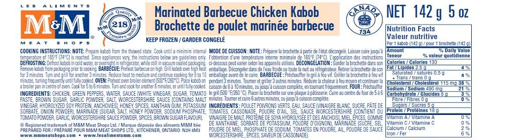 M&M Meat Shops brand Marinated Barbecue Chicken Kabob