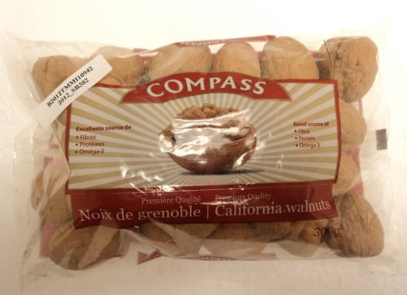 Compass brand in-shell California Walnuts - front