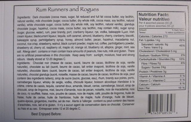 Rum Runners & Rogues Series Ingredient List, Nutrition Facts, Universal product code