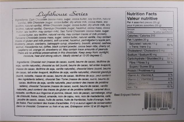Lighthouse Series Ingredient List, Nutrition Facts, Universal product code