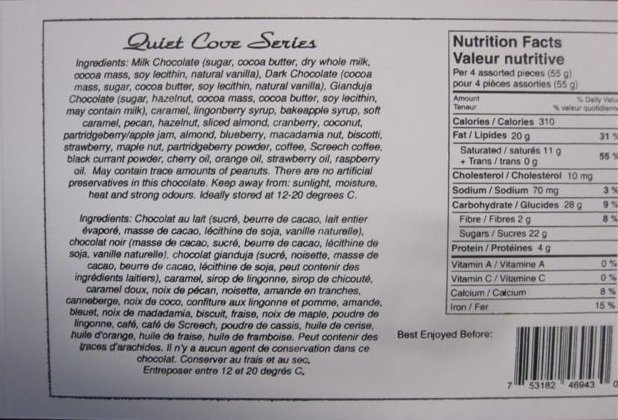Quiet Cove Series Ingredient List, Nutrition Facts, Universal product code