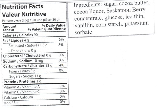 Saskatoon Berry Chocolate Hearts- 16 pieces Nutrition Facts