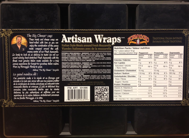 Formaggio brand Artisan Wraps Italian Style Meats around Fresh Mozzarella - Nutrition Facts Table