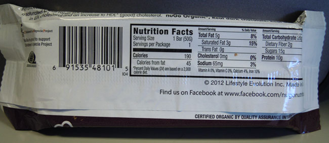Nutrition Facts - NuGo Organic - Double Dark Chocolate
