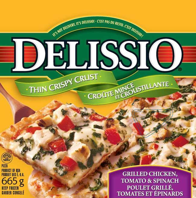 Delissio brand Grilled Chicken, Tomato & Spinch pizza