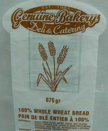 Genuine Bakery Deli & Catering - 100 % Whole Wheat Bread