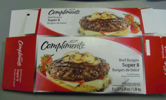 Compliments brand Super 8 Beef Burgers