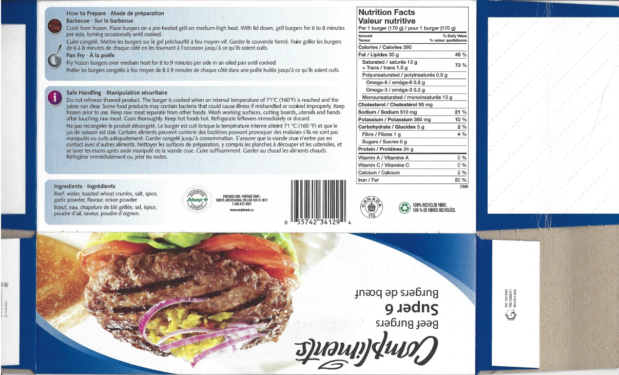 Nutrition Facts-Compliments Super 6 Beef Burgers