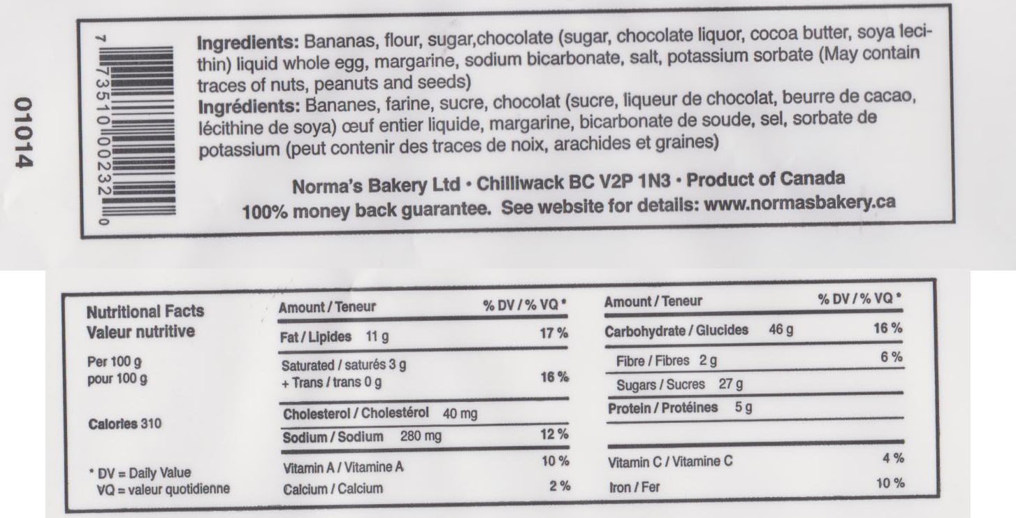Nutrition Facts and Ingredients - Norma's Wholesome Bakery Goods Chocolate Chip  Banana Bread