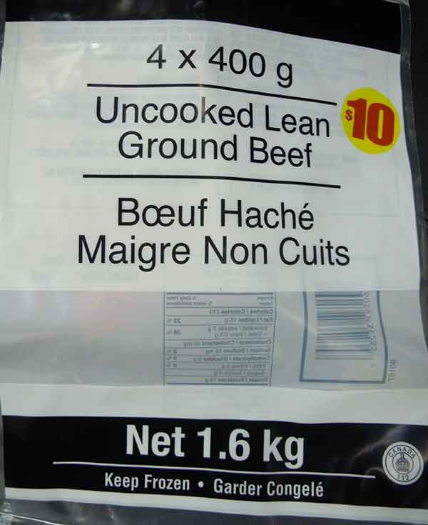 Uncooked Lean Ground Beef - 1.6 kilogram
