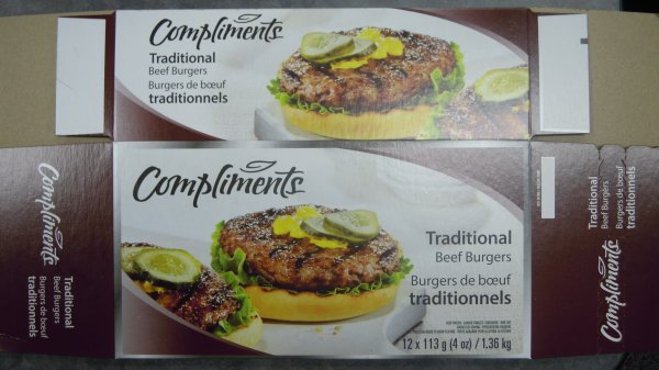 Compliments Traditional Beef Burgers - 12  x 113 g (4 oz) / 1.36 kg