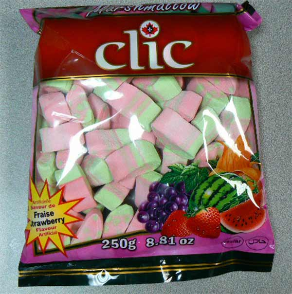 Clic brand strawberry flavored marshmallow - 250 grams