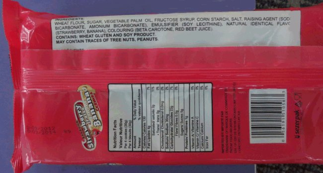 Tiffany brand Strawberry Banana Sandwich Cookies - back of package