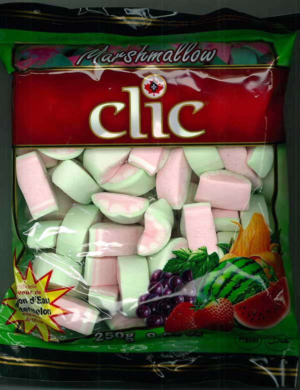 Clic Brand Watermelon Flavoured Marshmallows - 250 grams
