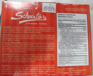 Schwartz's brand Smoked Meat - back of package