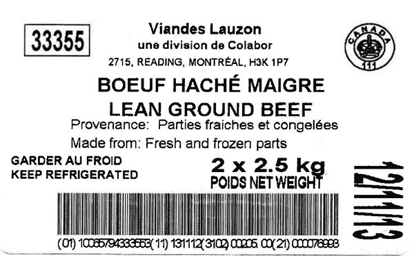 "Lean Ground Beef - 2 x 2.5 <abbr title=""kilograms"">kg</abbr>"