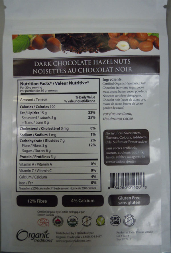 Dark Chocolate Hazelnuts (back) - 100 grams
