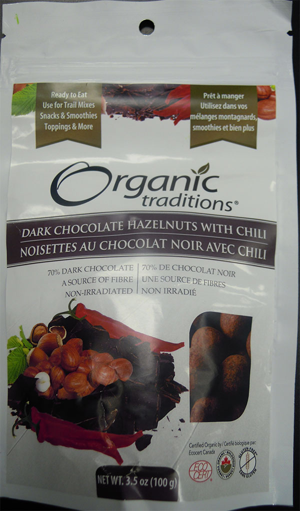 Dark Chocolate Hazelnuts with chili (front) - 100 grams