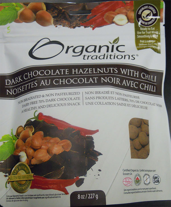 Dark Chocolate Hazelnuts with chili (front) - 227 grams