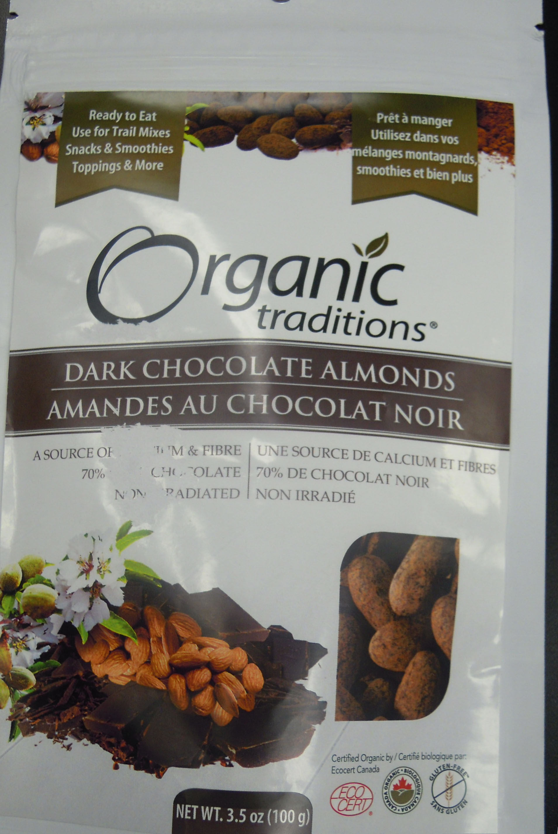 Dark Chocolate Almonds (front) - 100 grams