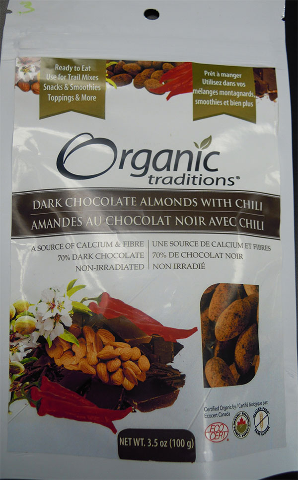 Dark Chocolate Almonds with chili (front) - 100 grams