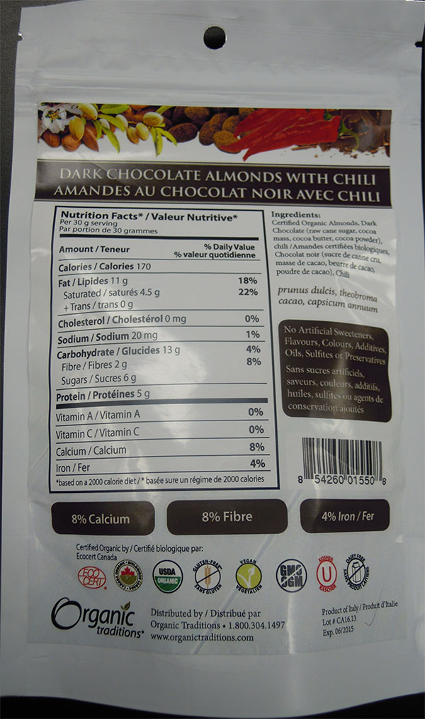 Dark Chocolate Almonds with chili (back) - 100 grams