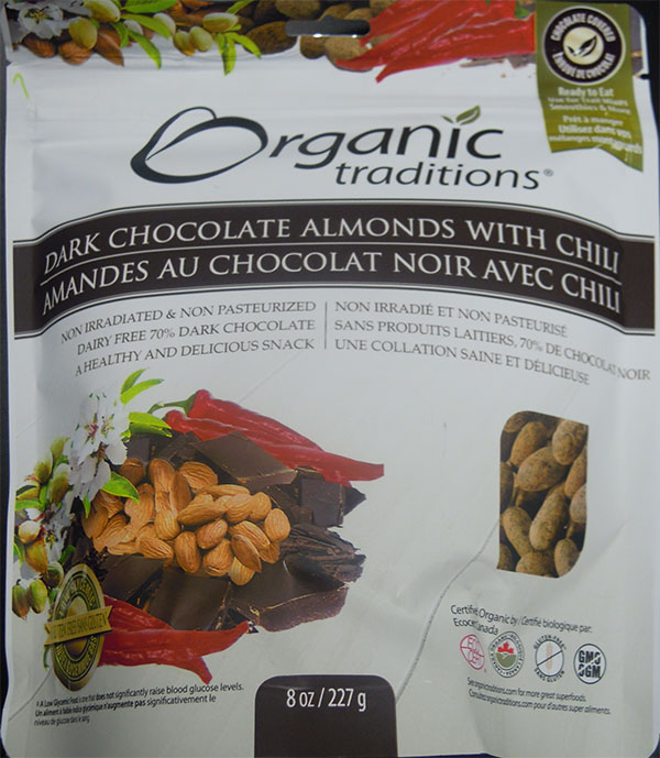 Dark Chocolate Almonds with chili (front) - 227 grams